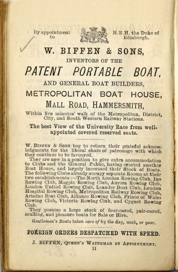 An early flyer for Biffin's Boathouse at Hammersmith