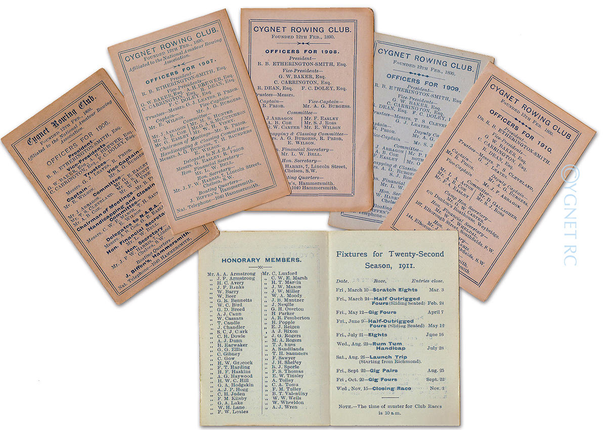 Club fixture cards from the early 1900s